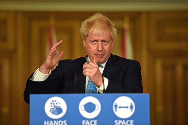 Prime Minister Boris Johnson during a media briefing in Downing Street, London, on coronavirus (COVID-19). PA Photo. Picture date: Friday October 16, 2020. See PA story HEALTH Coronavirus. Photo credit should read: Eddie Mulholland/Daily Telegraph/PA Wire