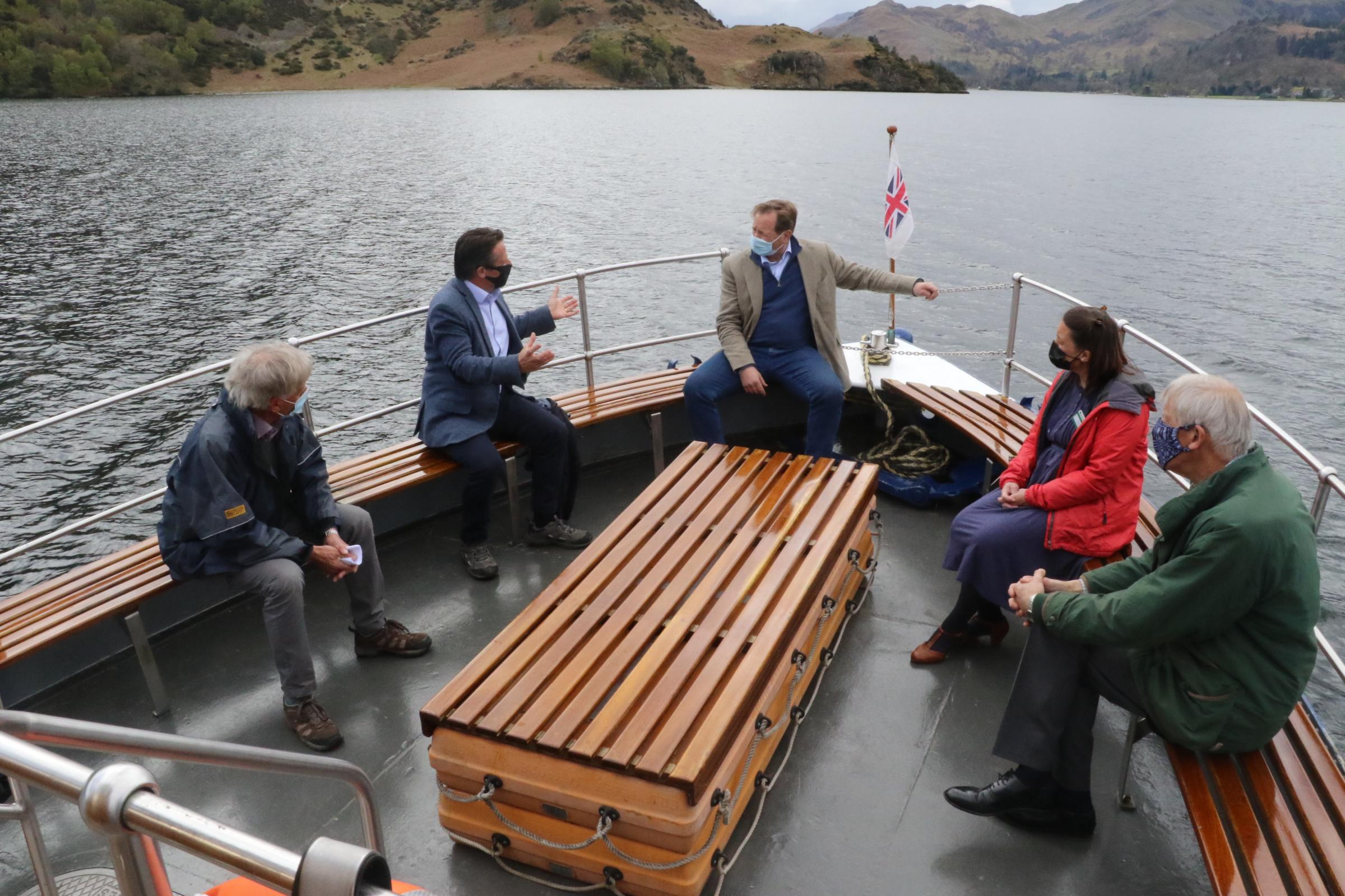 TOURISM: Nigel Huddleston MP speaking to local representatives abord an Ullswater 'Steamer