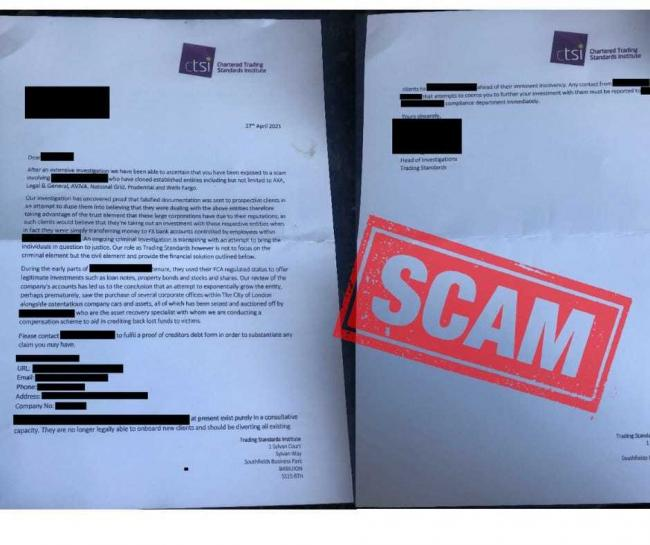 Postal scam using fraudulent Chartered Trading Standards Institute (CTSI) branding targets public. Picture: Cumbria Trading Standards