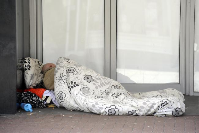 GV Of homeless person sleeping rough in doorway of empty shop, Southend High Street...Pictures: AL UNDERWOOD.Date 4/16/14 Copyright Echo/ Newsquest 01268 469390.